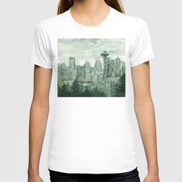 Seattle Skyline Watercolor Space Needle Emerald City 12th Man Art T-shirt