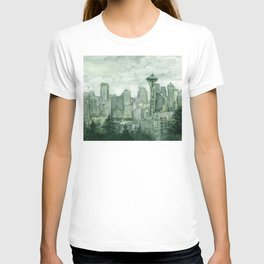 Seattle Skyline Watercolor Space Needle Emerald City 12th Man Art T-shirt