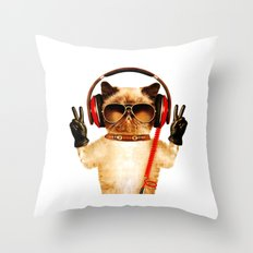 Muscal cat Throw Pillow