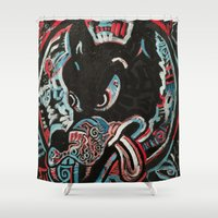 ashton irwin Shower Curtains featuring Irwin Wolf by Matt Pecson