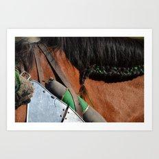 Jousting Horse - Green Braid Art Print