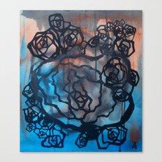 Brick and marine roses Canvas Print