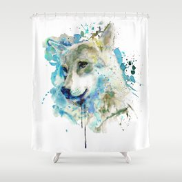 Watercolor Wolf Portrait Shower Curtain