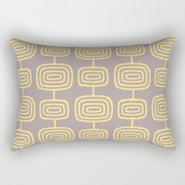 Mid Century Modern Atomic Rings Pattern Yellow and Gray 3 Rectangular Pillow