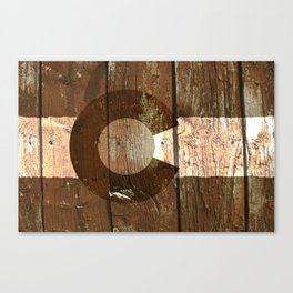 Rustic brown wooden Colorado flag Canvas Print