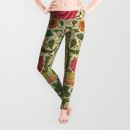 William Morris Roses Floral Textile Pattern Leggings