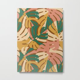 Monstera Leaves - Gold - Green - Pink Metal Print
