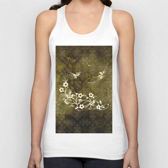 Fantasy birds with flowers Unisex Tank Top