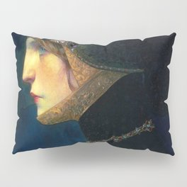Head of a Lady in Medieval Costume by Lucien Victor Guirand de Scevola (c.1900) Pillow Sham