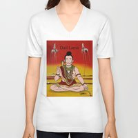 lama V-neck T-shirts featuring Dalí lama by Michelena