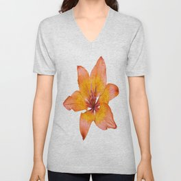 Coral Colored Lily Isolated on White Unisex V-Neck