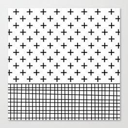 Crosses, Criss Cross, Black and White Modern Canvas Print