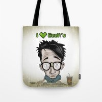 geek Tote Bags featuring Geek by Aguamala