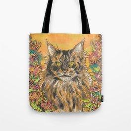Honeysuckle Cat (Maine Coon Cat) Tote Bag