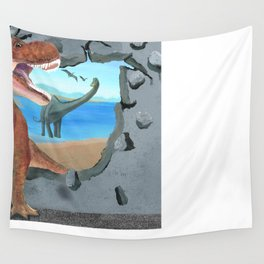 Prehistoric Dinosaur Tyrannosaurus Enters the 21st Century Wall Tapestry