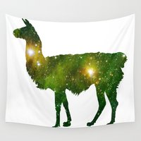 llama Wall Tapestries featuring Llama by Lucas de Souza