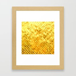 Give me Gold: festive, golden, fashionable, 3-d, glittery, Christmas, cheerful, lattice design Framed Art Print