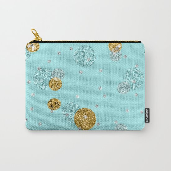 Treasures on aqua - Gold glitter polkadots on turquoise background Carry-All Pouch