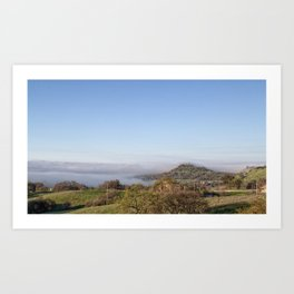 Fog Meets Hill in travel up valley floor, Butte County Art Print