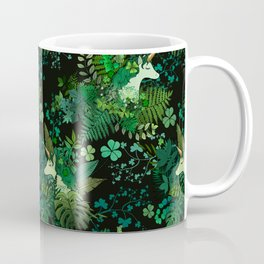 Irish Unicorn in a Garden of Green Coffee Mug