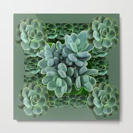 ARTISTIC GRAY-GREEN SUCCULENT ART Metal Print