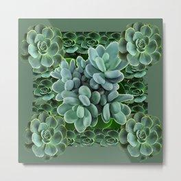 ARTISTIC GRAY-GREEN SUCCULENT ART Metal Print