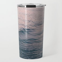 Pink Sunset Waves Travel Mug