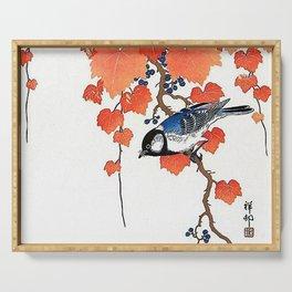 "Ohara Koson,""Bird & Red Ivy"" Serving Tray"