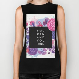 You Can You Will Inspirational Quote + Watercolor Flowers Biker Tank