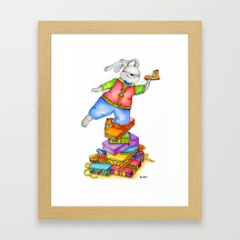Rabbit with boot Framed Art Print