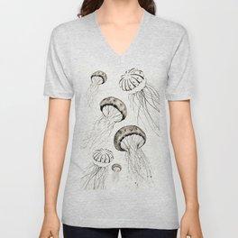 jelly fishes black and white Unisex V-Neck