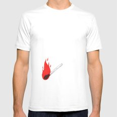 FIRE White SMALL Mens Fitted Tee
