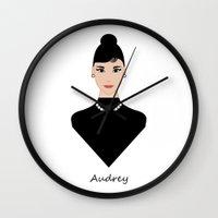 audrey Wall Clocks featuring Audrey by ravynka