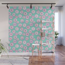 Pink Donuts | Strawberry Watercolor Doughnut Pattern on Teal Wall Mural