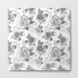Hand painted black white watercolor roses floral pattern Metal Print