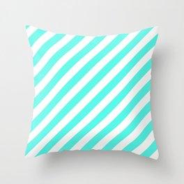 Diagonal Stripes (Turquoise & White Pattern) Throw Pillow