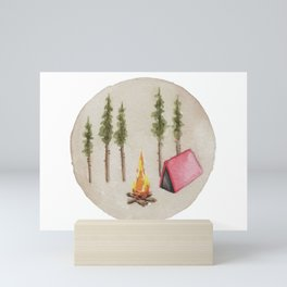 Campfire, Outdoorsy, Camping, Pine Trees, Camp Fire Mini Art Print