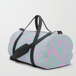 Modern vintage teal purple floral damask pattern Duffle Bag