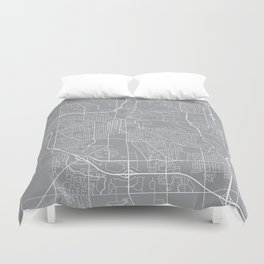 Ann Arbor Map, Michigan USA - Pewter Duvet Cover