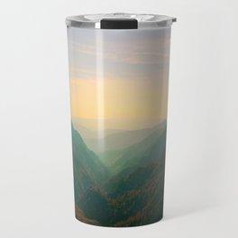 Mountain Valley Parallax Green Yellow Hues Sunset landscape Minimalist Modern Photo Travel Mug
