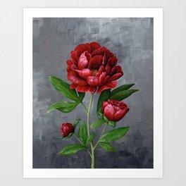 Red Peony Flower Painting Art Print