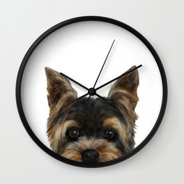 Yorkshire Terrier Mix colorDog illustration original painting print Wall Clock