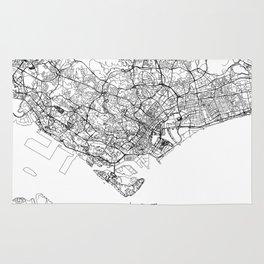 Singapore White Map Rug
