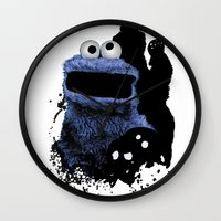 cookie monster Wall Clocks featuring Monster Madness: Cookie Monster by SB Art Productions