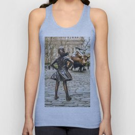 Fearless Girl And Wall Street Bull Statue - New York Unisex Tank Top