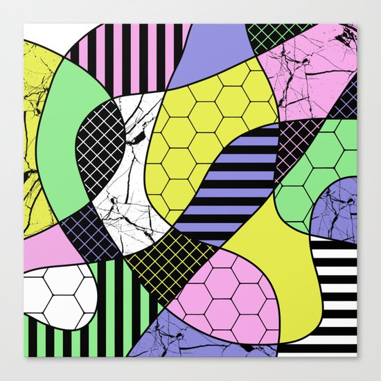 Pastel Collage - Multi patterned, abstract, pastel themed geometric art Canvas Print