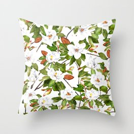 Watercolor Magnolia Flowers Throw Pillow