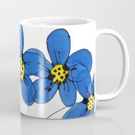 Seven Flowers (Blue): cheery original art in a loose style, simple flowers in a turquoise pot Coffee Mug