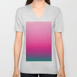 Chic Pink to Teal Color Block Gradient Unisex V-Neck