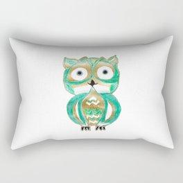 Owl Fun #4 #mint #green #gold #drawing #decor #art #society6 Rectangular Pillow